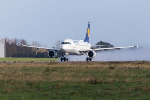 Airbus A319-100 from airline Lufthansa takes off from international airport Langenhagen / Hanover.
