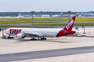 Boeing 777 - 300 TAM Airline in Frankfurt Airport  in Germany